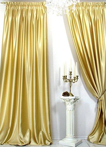 Trendoro Vorhang, 1 Satin-Vorhang *Gold*, Maße: 150 x 260 cm. Schwerer hochwertiger Satin, wirkt sehr edel, ist pflegeleicht & Blickdicht. Ateliergefertigt