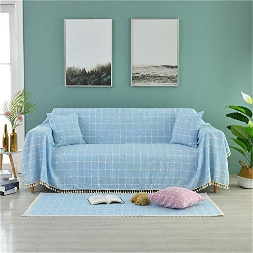 Cubierta DE Sofa MULSULTOS MULTIPUESTE ESPULARIO COMPROBADO Sofa TOTALLA DE ALGODÓN DE COMENTIDOR DE LIBERTURA DORMAJE Total DE TAPULAR,Azul,200 * 150cm