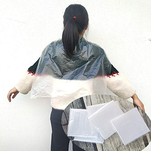 Couper Les Cheveux Capes Coiffeur Tablier, 100pcs Thicken jetable Emballés Individuellement, étanche Transparent for Salons de Coiffure Salon de Coiffure Ménage, 60 * 90cm