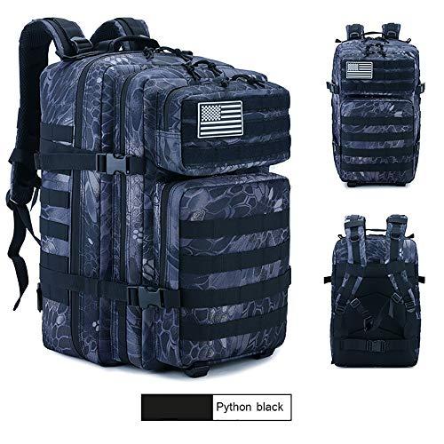 SJAPEX Mochila Táctica Militar 45L, Paquete de Asalto de Gran Capacidad para Utilidad Militar Bolsa de Emergencia, para Caza Senderismo Acampada Actividad al Aire Libre (Python Black)