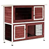 "PawHut 48"" 2-Story Elevated Stacked Wooden Rabbit Hutch Small Animal Habitat with Ramp"