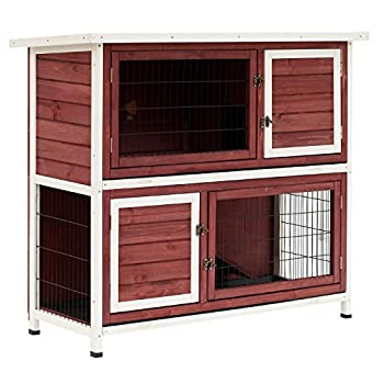 PawHut 48  2-Story Elevated Wooden Rabbit Hutch Small Animal Habitat Guinea Pig House with Weatherproof & Openable Top