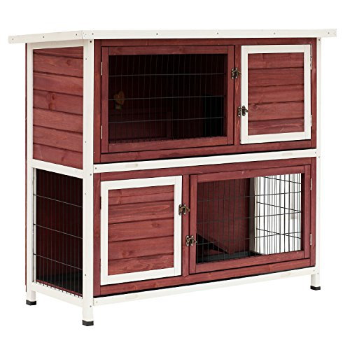 """PawHut 48"""" 2-Story Elevated Wooden Rabbit Hutch Small Animal Habitat Guinea Pig House with Weatherproof & Openable Top"""