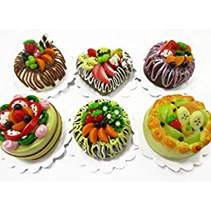 dollhouse miniature food new 6 mixed fruit cake 2 cm doll food bakery 15700