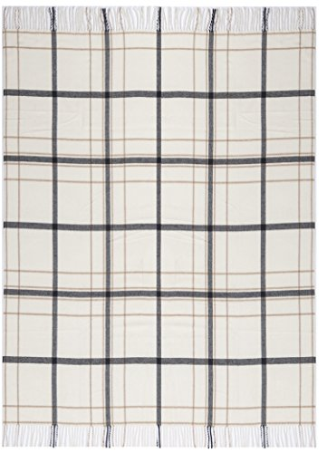 biederlack Plaid Squares and Plains   Karo Natur - 130 x 170