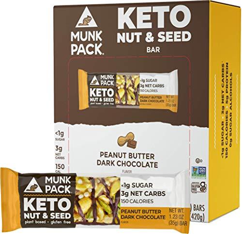 Munk Pack Keto Nut & Seed Bar, Peanut Butter Dark Chocolate, 12 Pack, <1g Sugar, 3g Net Carbs, Keto Snacks, No Added Sugar, Plant Based, Gluten Free, Soy Free
