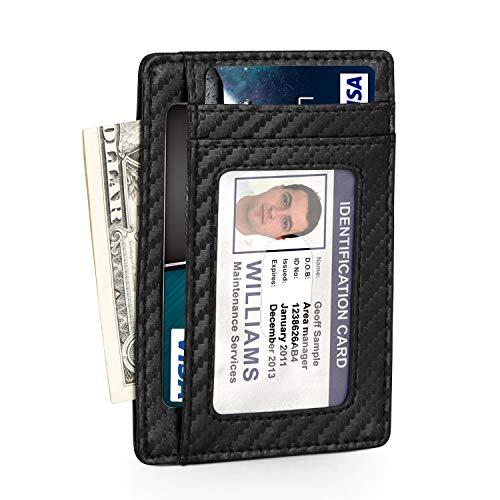 Everwell Kreditkartenetui Herren Slim, Premium Leder Dünn Kartenhüllen mit RFID Schutz, Mini Klein Geldbörse Kreditkartenhülle Kartenetui Visitenkarten Etuis Geldbeutel Portemonnaie Männer