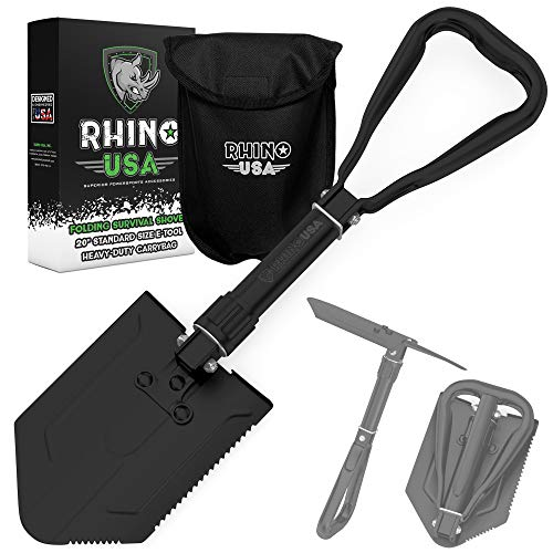 Rhino USA Folding Survival Shovel w/Pick - Heavy Duty Carbon Steel Military Style Entrenching Tool...