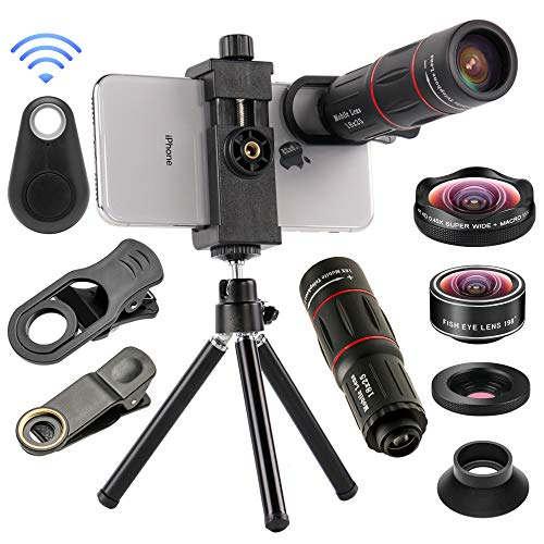 4 in 1 Cell Phone Camera Lenses Kit, 18X Telescopic Zoom Lens/4K HD Super Wide Angle/Macro/Fisheye...