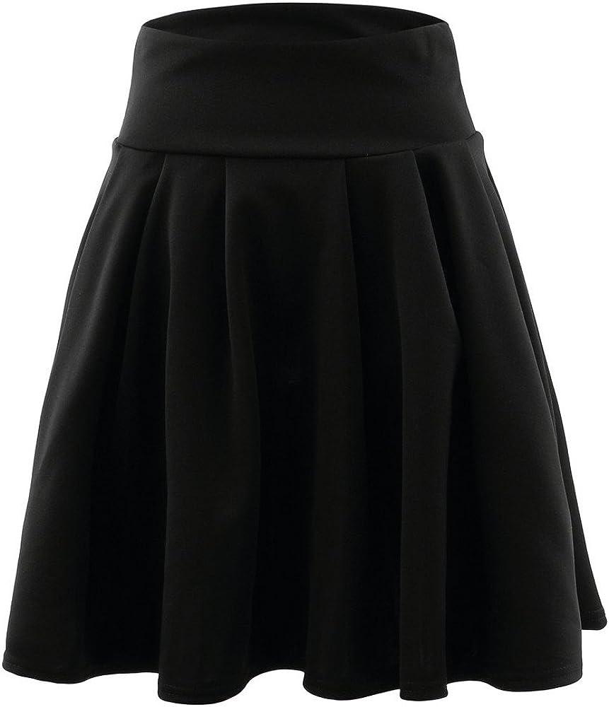 Kangma Women's Summer Party A-Line Elastic Pleated Mini Skater Skirt for Junior Teens Girls