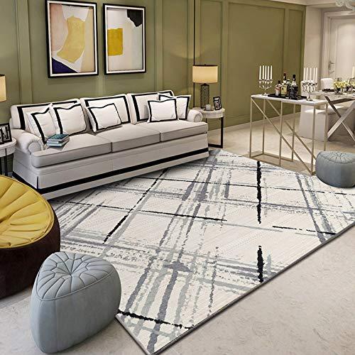 MMHJS European Fashion Geometric Carpet Simple Retro Non-Slip Absorbent Wear-Resistant Floor Mats Living Room Bedroom Hotel Kitchen Homestay Carpet