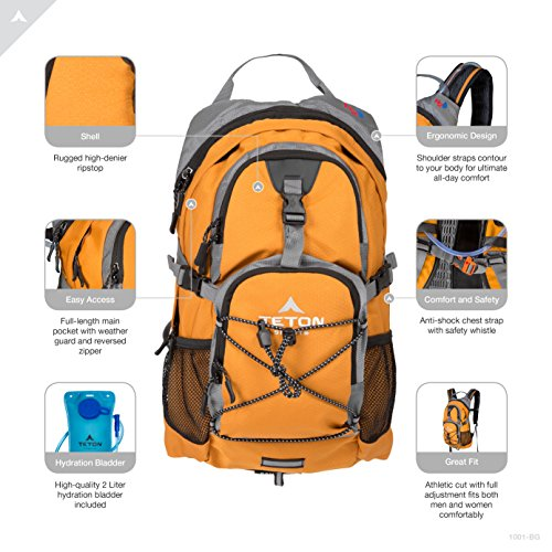 TETON Sports Oasis 1100 Hydration Pack; Free 2-Liter Hydration Bladder; For Backpacking, Hiking, Running, Cycling, and Climbing; Orange, 18.5-Inch x 10-Inch x 7-Inch (1001O)