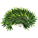 Mayplus 20pcs Artificial Green Bamboo Leaves Fake Green Plants Greenery Leaves for Home Hotel Office Decoration Wedding Party Garden Decor