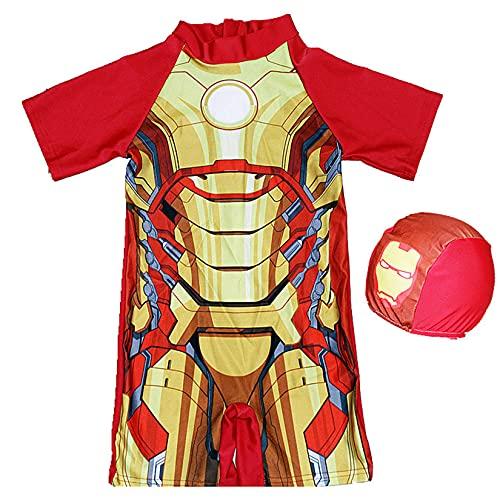 Hflyy Iron Man Traje Baño Niños Traje Baño Niños Traje Baño Niños Traje Surf Superhéroe Traje De Sol Transpirable Pantalones Cortos De Baño De Impresión Traje De Neopreno para Vacaciones,Red-2XL
