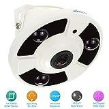 KKmoon CCTV Cámara 2.0MP HD 1080P Lente Ojos de Pez 1.7mm 1/4' CMOS Sensor 360° IR-Cut Visión Nocturna Vigilancia Seguridad Hogar PAL Sistema