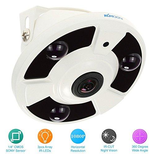 """KKmoon CCTV Cámara 2.0MP HD 1080P Lente Ojos de Pez 1.7mm 1/4"""" CMOS Sensor 360° IR-Cut Visión Nocturna Vigilancia Seguridad Hogar PAL Sistema"""