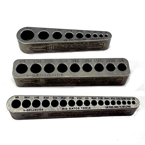 Big Gator Tools STD Series 3PC V-Drill Guide w/35 SAE Hole Sizes 1/8' - 5/8' 3PC Set