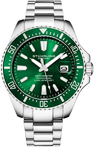 Stuhrling Original Watches for Men-Pro Diver Watch-Sports Watch for Men with Screw Down Crown for 330 Ft. of Water Resistance - Analog Dial, Quartz Movement - Mens Watches Collection (Green)