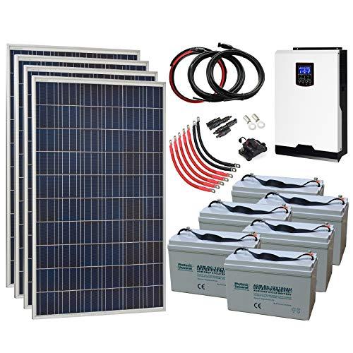 Sistema de energía Solar de Rejilla Completa de 1,1 kW 24 V con 4 Paneles solares de 275 W, inversor híbrido de 3 kW y 6 baterías de 100 Ah