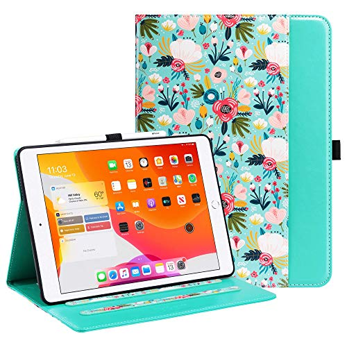 ULAK iPad 10.2 Case with Pen Holder Card Holder, iPad 8th Generation Case Premium PU Leather Cover, Auto Sleep/Wake Up Protection Smart Cover for iPad 10.2 inch 7th 2019/8th 2020 Generation, Flower