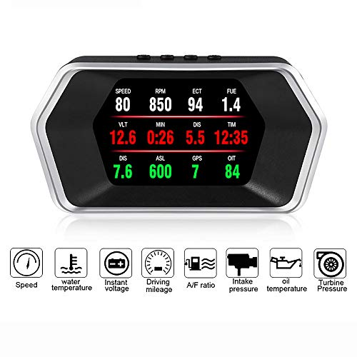 Ashey Pantalla Head Up, Pantalla HUD de electrónica de automóvil OBD, Modo Dual P17 OBD2 + GPS, velocímetro GPS, código de Falla Claro, PK, C1, RPM, Temperatura