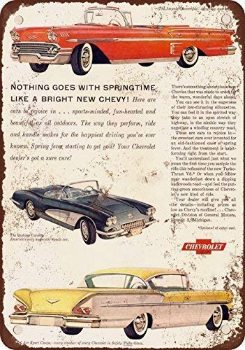Odeletqweenry Tin Sign, Chevrolet Impala Bel Air Corvette Vintage Look Reproductie Metalen Tin Teken 12