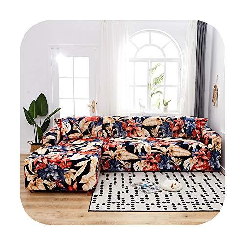 Funda de sofá con diseño de flor, color liso, funda de sofá para salón, L, forma de tumbona o sofá, funda de protección, modelo 1-1 unidad