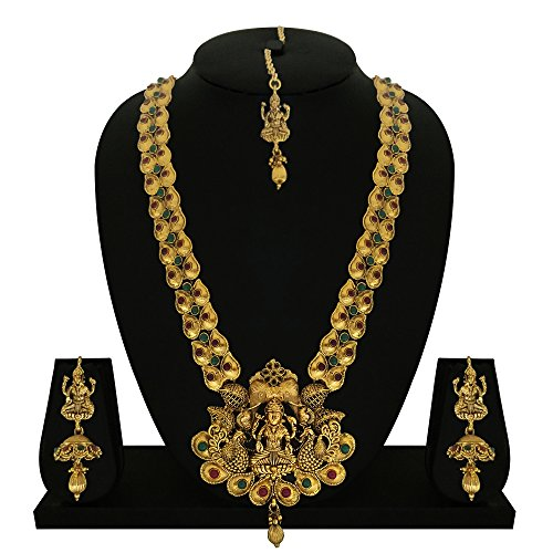 Matushri Art Red and Green Brass Jewellery of God Laxmi with Elephant...