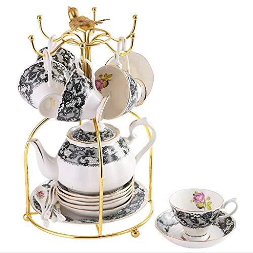 Ensemble-Cadeau de thé en céramique en Porcelaine de 21 pièces avec Support en métal, Service à café avec Tasses, soucoupes, théière (Couleur: H)