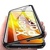 HaptiCase Funda para Xiaomi Mi Poco X3 NFC Magnetica Adsorption Carcasa 360 Grados Frente y Parte Posterior Cuerpo Completo Transparente Vidrio Templado Protección Metal Choque Cover Case - Negro