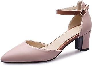BalaMasa Womens ASL06334 Pu Block Heels