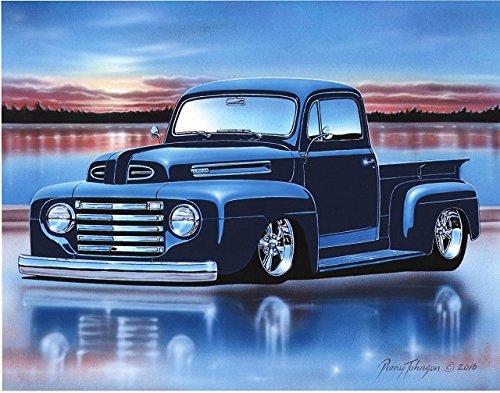 1948 49 50 Ford F1 Pickup Hot Rod Truck Art Print Blue 11x14 Poster