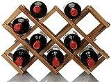 Anyeat Legno per 10 Bottiglie di Vino, Portabottiglie di Vino con Ripiani Pieghevoli Spazio Minimo Portabottiglie Tradizionale Ideale per Conservare Vini di Alta qualità