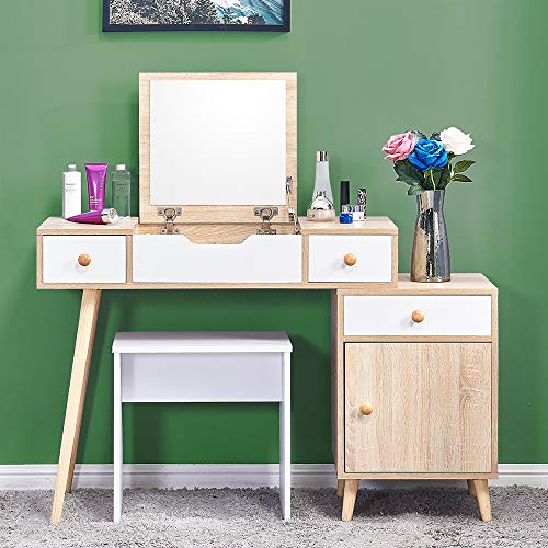 BonChoice White Dressing Tables Set with Flip up Mirror Vanity Table Makeup Desk with Stool, Mirrored for Bedroom, Cloakroom, Dressing Room Modern Best Gift for Girl (3 Drawers Filp up Mirror)