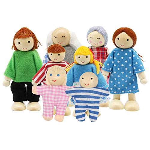 PUCKWAY Lovely Family Dollhouse Dolls Set of 8 Wooden Little People Figures, Kids Girls Happy Playset Characters Accessories for Children Pretend Gift