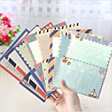 SCStyle 48Pcs Stationery set-32 Cute Lovely Kawaii Special Design Writing Stationery Paper with 16 pcs Envelopes