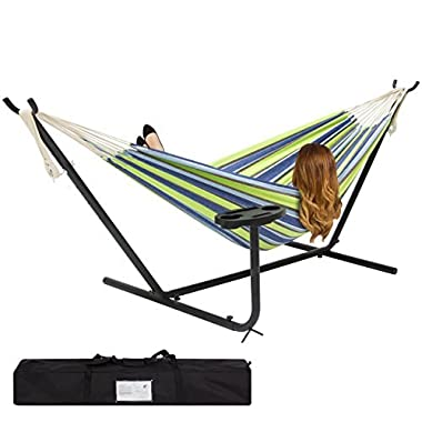 Best Choice Products Outdoor Double Hammock Set w/Steel Stand, Cup Holder, Tray, and Carrying Bag - Blue/Green Stripe