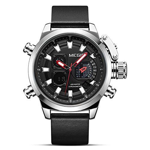 LIRUI057 Mannen dubbele beweging multi-functie horloge wekker lichtgevende lederen kwarts horloge mode waterdicht mannen analoge horloge