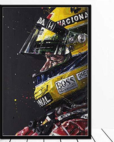 QINGRENJIE Ayrton Senna F1 Racing Car Poster Arte de la Pared Lienzo Pintura Carteles e Impresiones Wall Picture Room Decoración Decorativa para el hogar 50X70 Cm sin Marco