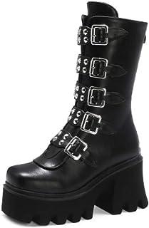 XTR Hiver Gothique Punk Femmes Plate-Forme Bottes Boucle Noire Sangle Fermeture éclair Creeper compensées Chaussures mi-Mo...