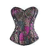 Leonnn Corsés Vintage de Steampunk, Cosplay de Halloween del Halloween, Shapewear de Brocado de Acero Espiral gótico,Púrpura,M