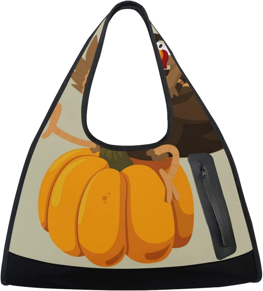 Max 79% OFF Funny Thanksgiving Turkey And Pumpkin Sports Gym Bag Women Sale Totes