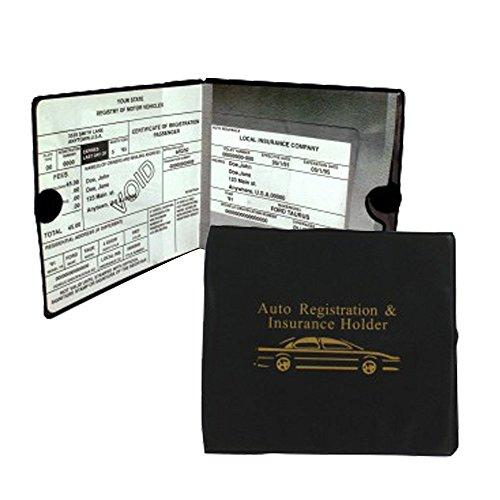 Set of 4 Auto Car Registration Insurance Holder Wallet - Document Id Black Case for Car Truck Boat
