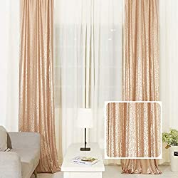 Champagne Sequin Curtains Drape Panels Backdrops