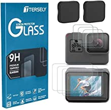 TERSELY Screen Protector & Camera Lens Cover for GoPro Hero 7 (2018) /6/5, (3 Pack) 9H Hardness Tempered Glass Screen Lens Protector Front + Back Glass & Lens Cover Cap for Go Pro Hero7 Hero6 Hero5