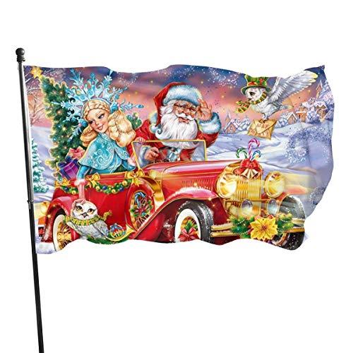 Ha99y Cartoon Schneemädchen Eule Weihnachtsmann rotes Auto 3x5 Fußfahne lebendige Farbe und UV-lichtbeständiges Polyester 3 x 5 ft Gartenflaggen