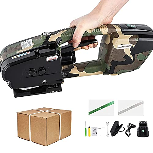 HAOGUO Electric Strapping Machine Portable Electric Welding Packaging Tool for 1/2-5/8 inch PP PET Straps with 2x3000mah Battery Powered Automatic Strapping Tool for Box Pallet Logistics Packaging