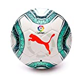 Puma LaLiga 1 Hybrid Ballon De Foot Mixte Adulte, White-Green Glimmer-NRGY Red, 5