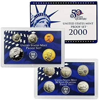 2000 S Gem 10-Piece Proof Set - Penny, Nickel, Dime, 5-Statehood Quarters, Kennedy Half and Sacagawea Dollar OGP - Excellent Proof Coins US Mint