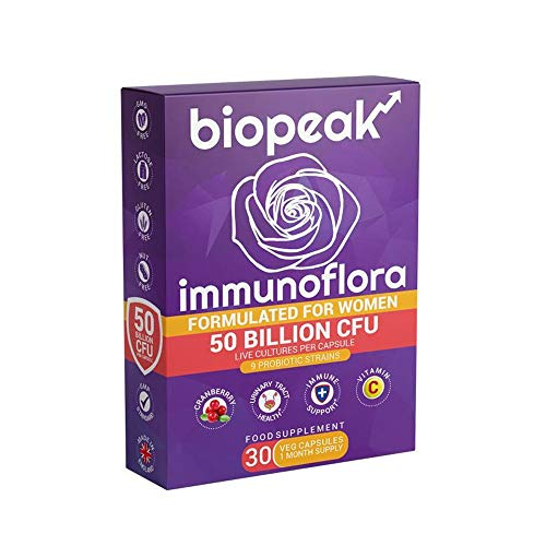 Biopeak Immunoflora 50 Billion CFU | for Women | Boost Immunity & Urinary Tract Health | with Cranberry, Vitamin C | Prebiotics | 9 Probiotic Strains - 30 caps